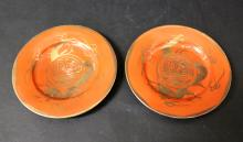 19TH/20TH C A PAIR OF RED CORRAL GLAZE PORCELAIN DISHES