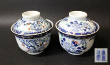 TWO CHINESE BLUE AND WHITE PORCELAIN TEA CUP SET WITH TOP