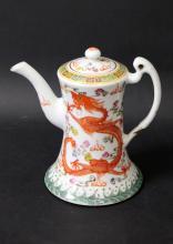 A CHINESE ROSE FAMILLE PORCELAIN TEA POT