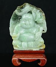 A Chinese Jadeite Buddha with Wood Stand