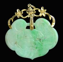 A Jadeite Longevity Lock with 18K(tested) Gold