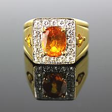 A Yellow Zircon Man's Ring With Diamond and 18K Gold