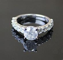 A Engagement Diamond Ring With A Bright Polish Finish