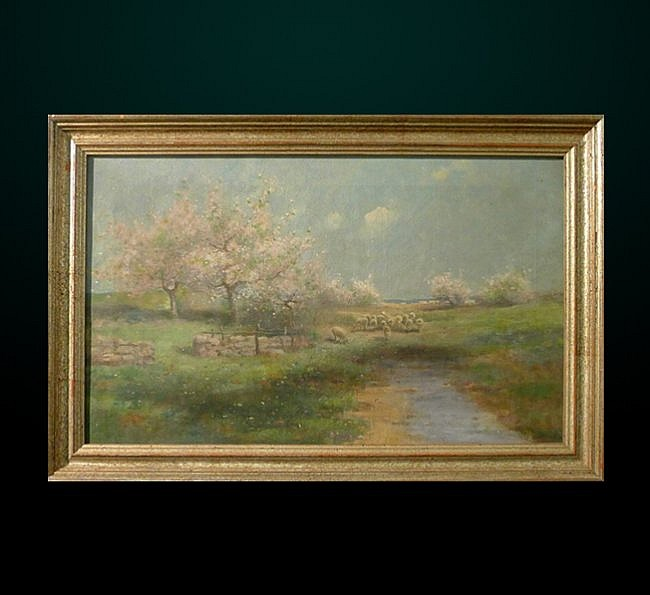 27: Oil on Canvas Landscape with Sheep Signed M.B. Krog