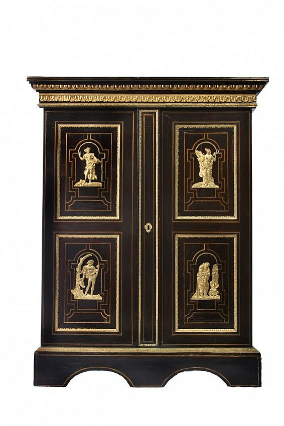 51: 19th C. Napolean Bibliotheque with Bronze Mounts