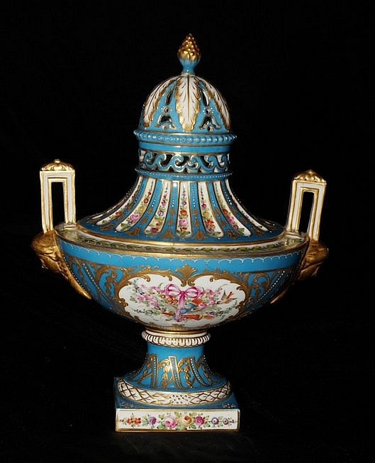 19th Century Scenic Sevres Covered Urn