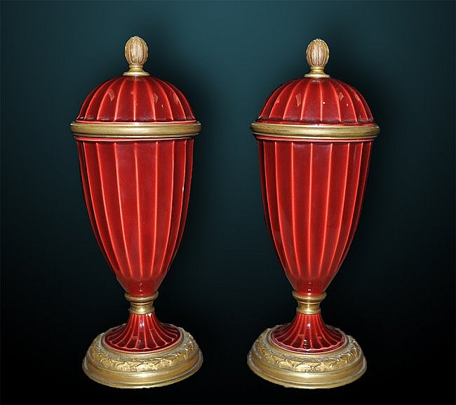 Pair of 19th Century Sevres Urns