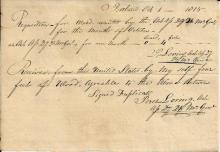 Captain Peres Loring Orders and Accepts Wood Shortly After War of 1812