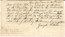 French & Indian War Col. Pitkin Signs 1756 Receipt