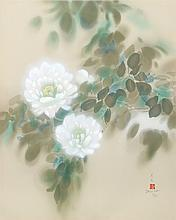 David Lee, White Peonies, Lithograph