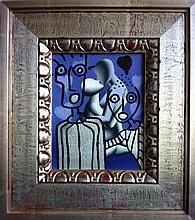 Mark Kostabi, Parallel Worlds, Oil Painting