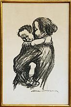 Kathe Kollwitz, Mother and Child, Lithograph