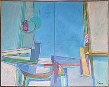 Piry Rame, Harbor, Oil Painting