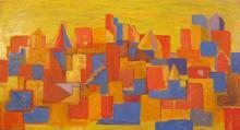 Peter Passuntino, Orange Scape, Oil Painting