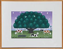 Edgar Calhado, Cows under a Tree, Painting