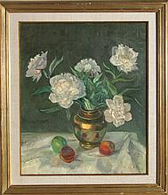 Adela Smith Lintelmann, White Flowers Still Life, Oil Painting
