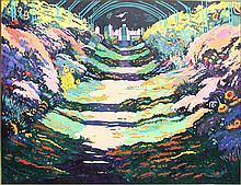 Jon Carsman, Giverny Gardens, Oil Painting