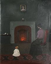 Branko Bahunek, Mother and Child by Fireplace, Oil Painting