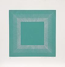 Richard Anuszkiewicz, Green with Silver, Op-Art Intaglio Aquatint Etching