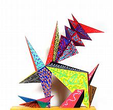 Paul von Ringelheim, Bright Abstract Painted Wood Sculpture