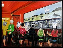 Raul Guerrero, The Whaling Bar: La Jolla - Watching Time Bar, Oil Painting