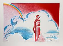 Peter Max, Rainbow and Clouds, Lithograph