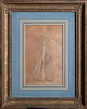 Thomas Cole, Woman with Wreath, Pencil and Chalk Drawing