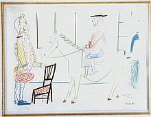Pablo Picasso, Man on Horse from Comedie Humaine Suite, Lithograph