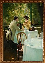 R. Bouchard, Seated in a Cafe, Oil Painting