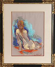 Jan De Ruth, Seated Girl, Pastel Drawing