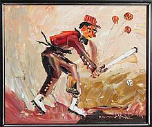 Morris Katz, Baseball Player, Oil Painting