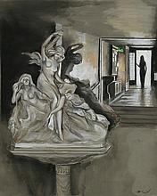 Harry McCormick, The Statue, Pastel Drawing