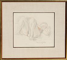 Moses Soyer, Reclining Nude, Pastel Drawing