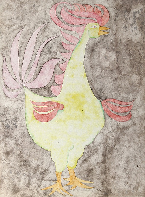 Carl Bergman, Rooster, Watercolor