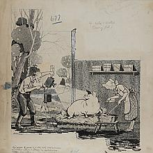 H. Harmony, Pigs may be trained, Ink Comic Illustration Drawing