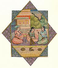 Indian, Miniature Three Seated Figures Painting
