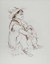 Ira Moskowitz, Man in Sombrero - III, Ink Drawing