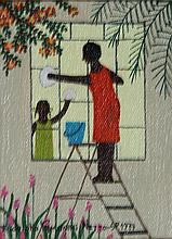 Rodolpho Tamanini Netto, Woman washing windows, Oil Painting