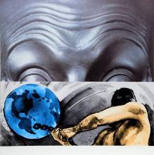 John Baldessari, Eyebrows Furrowed Foreheads Figure with Globe, Silkscreen