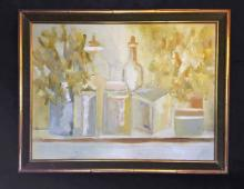 Susan Pear Meisel, Still Life with Bottles, Oil Painting