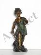 Auguste Moreau, Petit Fille, Bronze Sculpture