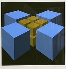 Marko Spalatin, Blue Cubes, Serigraph