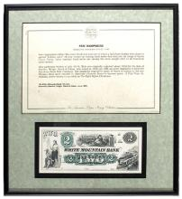 Lot of 10 Framed US Bank Notes, Various States Intaglio Etchings
