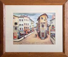 Buzzelli, Street Scene, Watercolor Painting