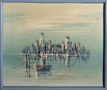 H. Durant, View of City, Oil Painting