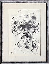Moshe Gat, Portrait of an Old Woman, Lithograph