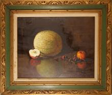 Johnstone, Still Life with Melon and Fruit, Oil Painting