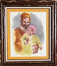 Sandu Liberman, Father and Child, Lithograph