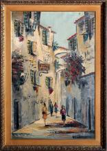 City Street - Restaurant, Oil Painting