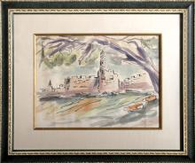 Israeli Townscape, Watercolor Painting